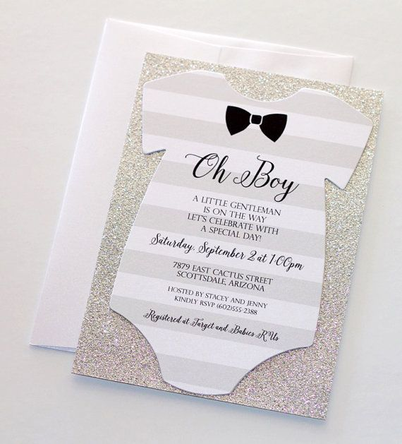 baby shower onesie invitation glitter shower invitation baby boy invitation bow tie invitation little man shower quantity 25