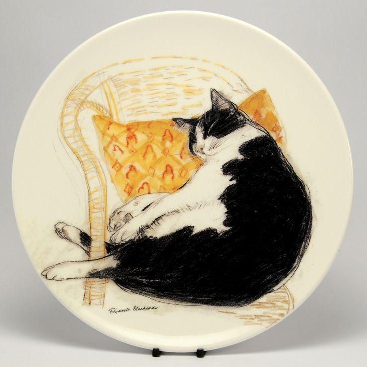 Декоративная тарелка Cat Royal Mail (Королевский Долтон) - Фред спит - 21 х 2 см 1995, Английский костяной фарфор, Англия