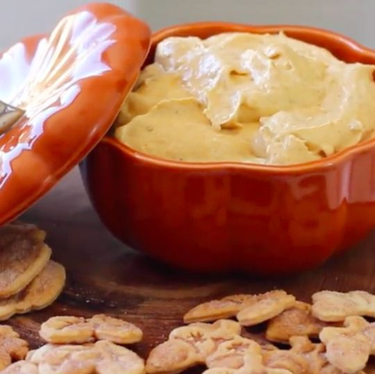Serve delicious, easy-to-make pumpkin spice dip with cinnamon sugar dusted pie crust cookies.