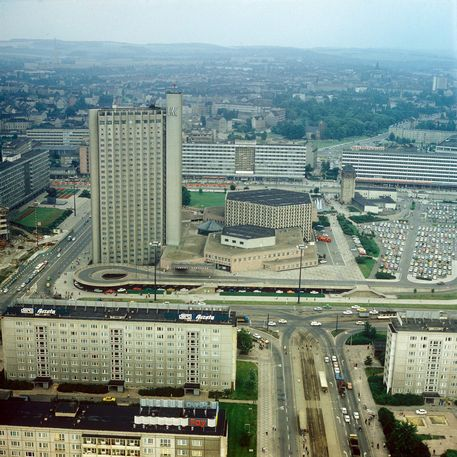Centre of former Karl-Marx-Stadt (Now Chemnitz) photographed in May 1972.