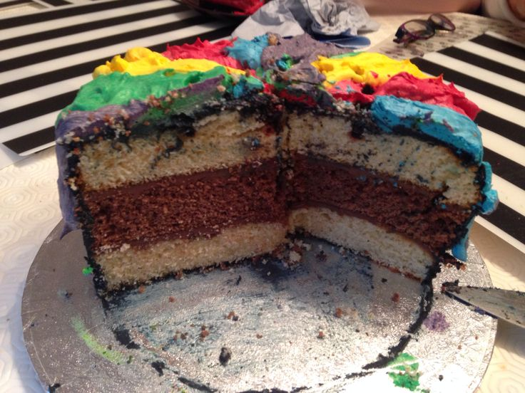 Triple layer vanilla and chocolate sponge with Nutella filling