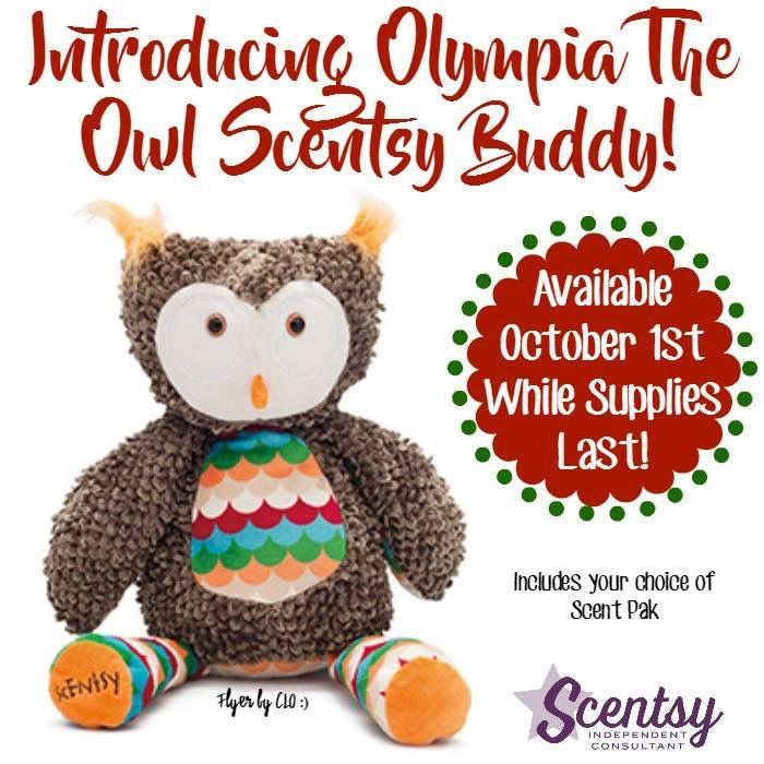 Olympia the Owl would be absolutely amazing for a birthday or Christmas present. She is the newest Scentsy Buddy and comes with a scent Pak of your choice.