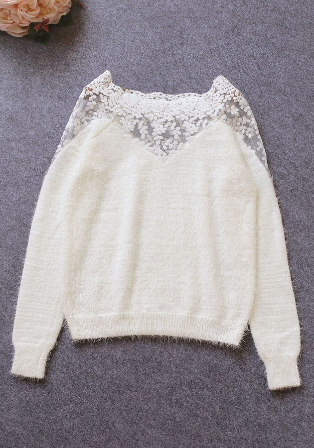 White Lace Mohair Top   Lookbook Store
