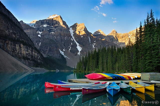 These colorful canoes made a great forground for this sunrise shot at  Morraine Lake