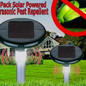 TWO Pack Solar Powered Ultrasonic Pest Repellent Control – Best Repellent for Gopher, Mole, Snake, Mouse, Mosquito – Garden