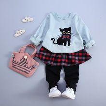 2015 navidad otoño niña manga larga camiseta + pantalones del traje de encaje arco hello kitty cat dot baby girl clothes princesa conjunto traje(China (Mainland))