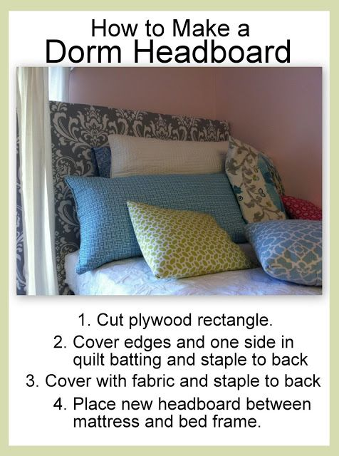 The Old Post Road: Easy Dorm Room Headboard Tutorial. This is so cute but I'm so scared it'd fall on my face!