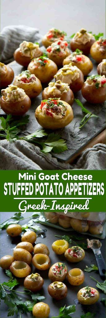 This recipe for stuffed potatoes is fantastic for entertaining! Two options - one sweet and one savory - are both Greek-inspired. 79 calories and 3 Weight Watchers SmartPoints