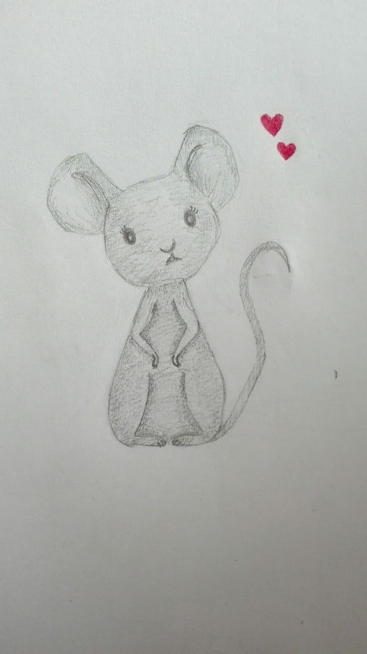 Mouse, pencil, love, hearts, grey