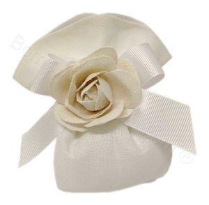 Sacchettino Avorio confetti e rosa Shabby