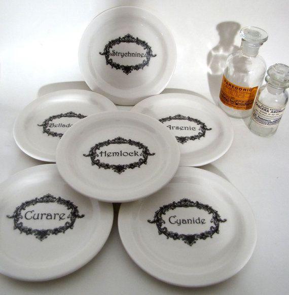 Name Your Poison Plates 6  black on white plates Halloween Table Decoration