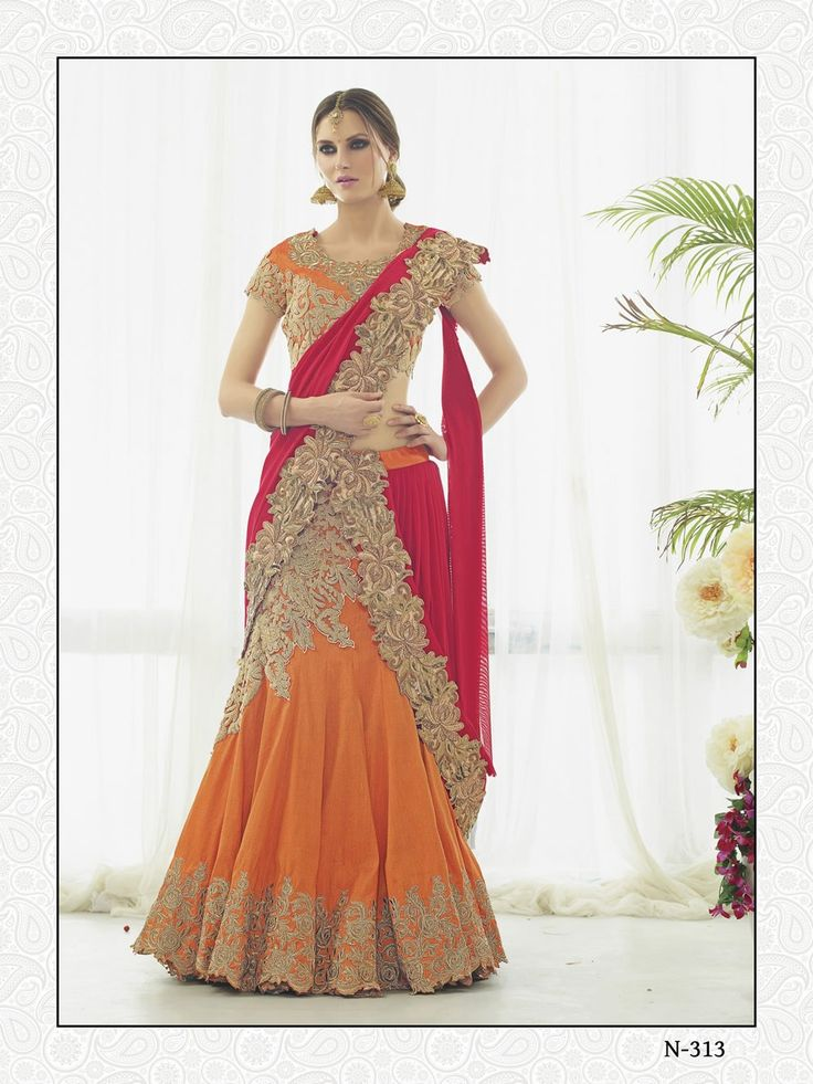 buy saree online Orange Colour Turkey Silk Designer Wedding Wear Lehenga Choli Buy Saree online UK  - Buy Sarees online