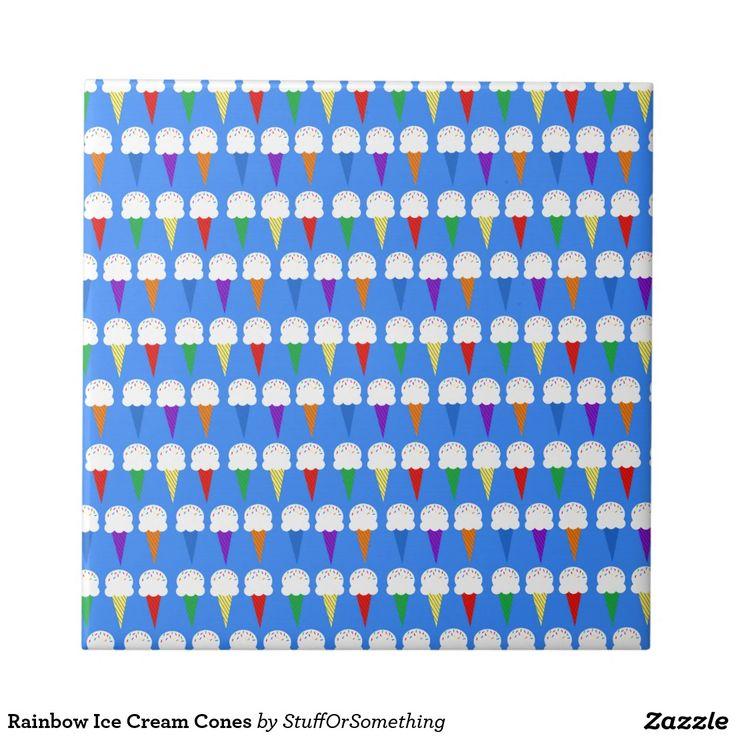 Rainbow Ice Cream Cones Small Square Tile