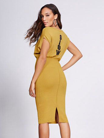 47588e798c Glow Corset-Detail Sweater Dress - Gabrielle Union Collection