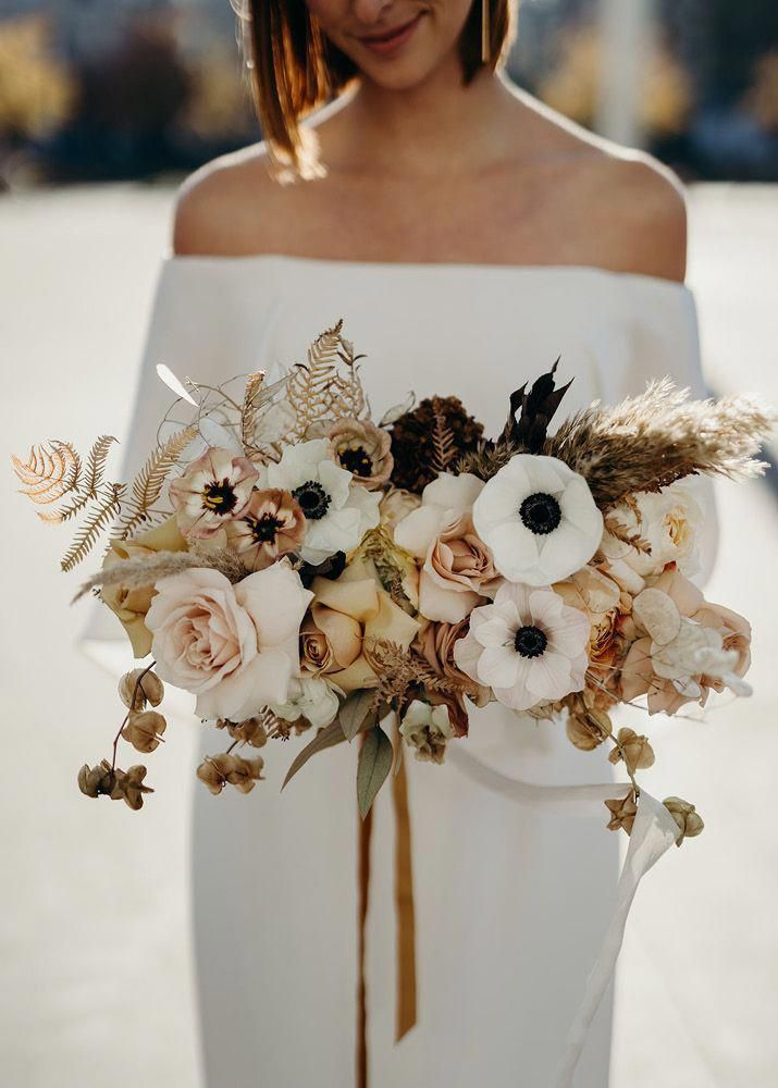 Amazing Bridal Bouquet In White Cream Beige And Brown Colors