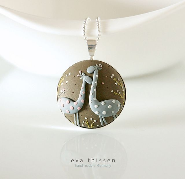 Lovers. Whimsical hand made polymer clay pendant. Made to order wearable art by Eva Thissen.