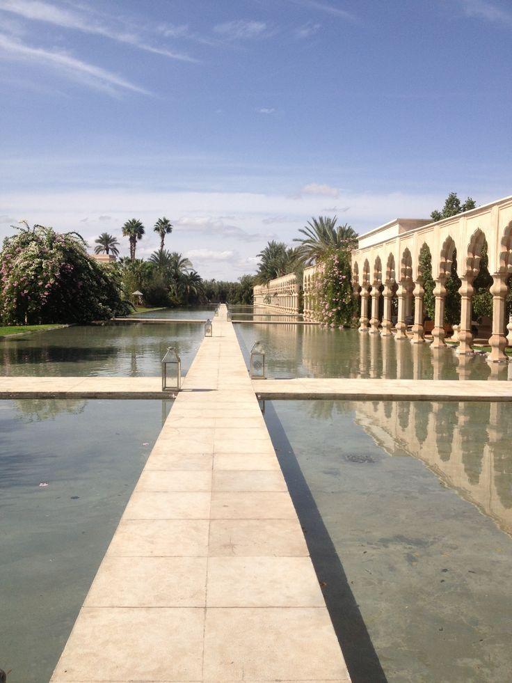 The serene and tranquil water walkways at The Palais Namaskar, Marrakech. #palaisnamaskar #travel #marrakech #architecture