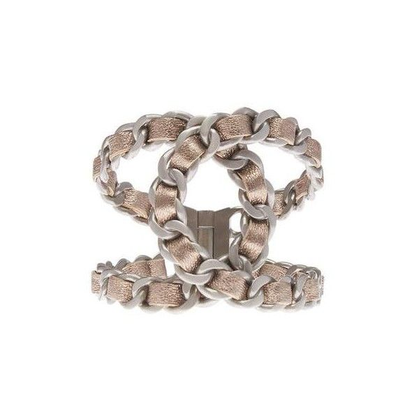 Pre-owned Chanel Metallic Gold Leather Hinge Silver-tone Cuff Bracelet ($960) ❤ liked on Polyvore featuring jewelry, bracelets, leather bangles, chanel, cuff bangle bracelet, leather cuff bracelet and hinged cuff bracelet