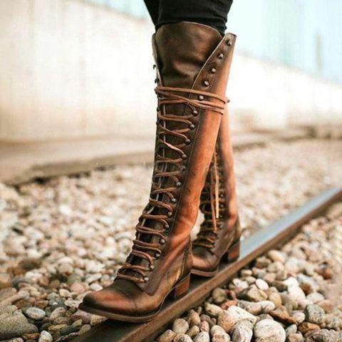 9e3132c89ba Shop Boots - Modmiss Women s Boots Black Low Heel Lace-Up Vintage Round Toe  Boots online. Discover unique fashion at modmiss.com.