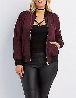 Plus Size Zip Up Bomber Jacket