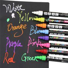 1pcs Liquid Chalk Marker Pens Erasable Multi Colored Highlighters LED Writing Board Glass Window Art 8 Colours Marker Pens(China)