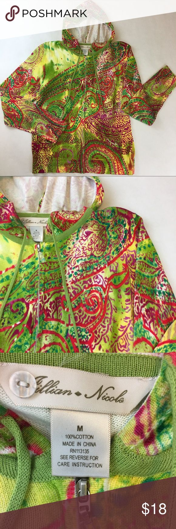Multi Color Print ZipUp Lightweight Sweater Hoodie Multi Color Zip Up Hoodie -  very pretty, lightweight sweater Size Medium - 100% Cotton Jillian Nicole Tops