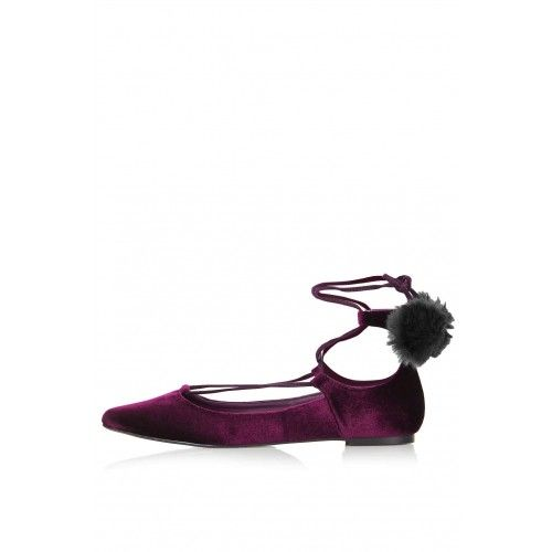 Womens FINEST Pompom Ghillie Shoes - Burgundy, Burgundy