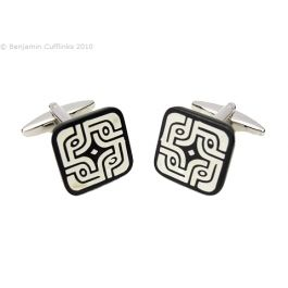 White Labyrinth Cufflinks: Mother of Pearl & Onyx - Wend your way through these cufflinks.   Creamy white mother of pearl with onyx stripes.  The natural nature of the materials can make the colouring vary in each pair and in each cufflink. The base colour can vary from white to cream.
