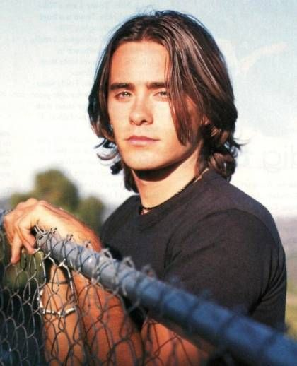 Young Jared Leto in Black T-Shirt Semi-Closeup