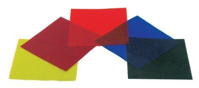 Color Filters Gelatin - Set of Five Colors 4x4 Inch Sheets