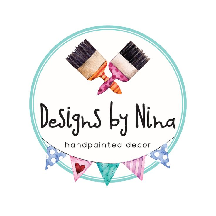 Bunting & Paintbrushes Premade Logo Design - Customized with Your Business Name!