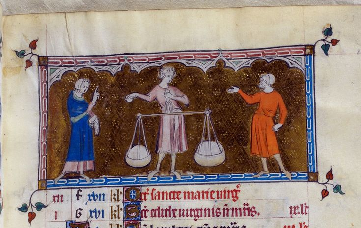 Detail of a miniature of a man holding scales, flanked by two other men (for the zodiac sign Libra), from a calendar page for September.  Origin: 	England (London/Westminster or East Anglia?)  Attribution: 	Queen Mary Master