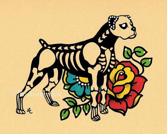 Dia de los Muertos Dog BOXER Day of the Dead Art by illustratedink, $10.00
