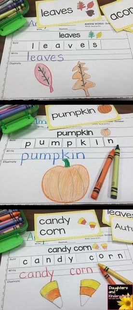 Making words printables for October themed vocabulary. Great for kindergarten and 1st grade writing centers, word work, tutoring, ESL, morning work, and homework. #daughtersandkindergarten