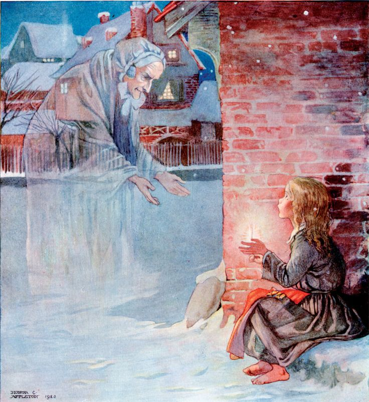 """""""Grandmother! Oh take me with you!"""" Honor Appleton's Illustration from Han's Andersen's The Little Match Girl."""