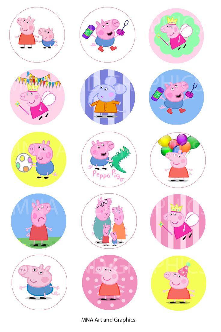 1 Inch Round Bottle Cap Images Peppa Pig Images Collage