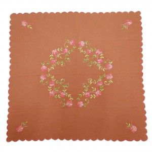 Embroidered Table Cloth Cotton Handmade Brown Square Table Cover/Linen India 33""