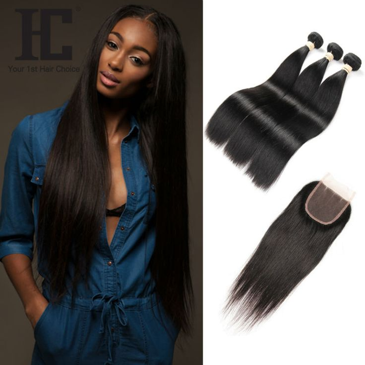 Rosa Hair Products With Closure Straight Brazilian Virgin Hair With Closure 8A Brazilian Straight Hair 3 Bundles With Closure HC