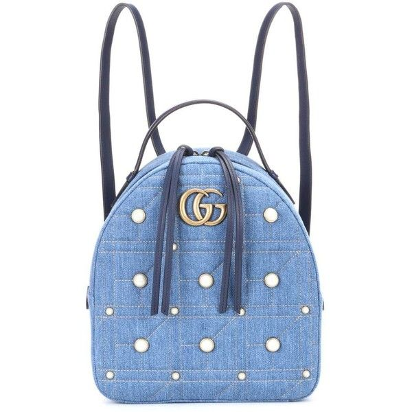 Gucci GG Marmont Embellished Backpack ($1,880) ❤ liked on Polyvore featuring bags, backpacks, blue, embellished bag, blue backpack, gucci backpack, gucci knapsack and daypack bag