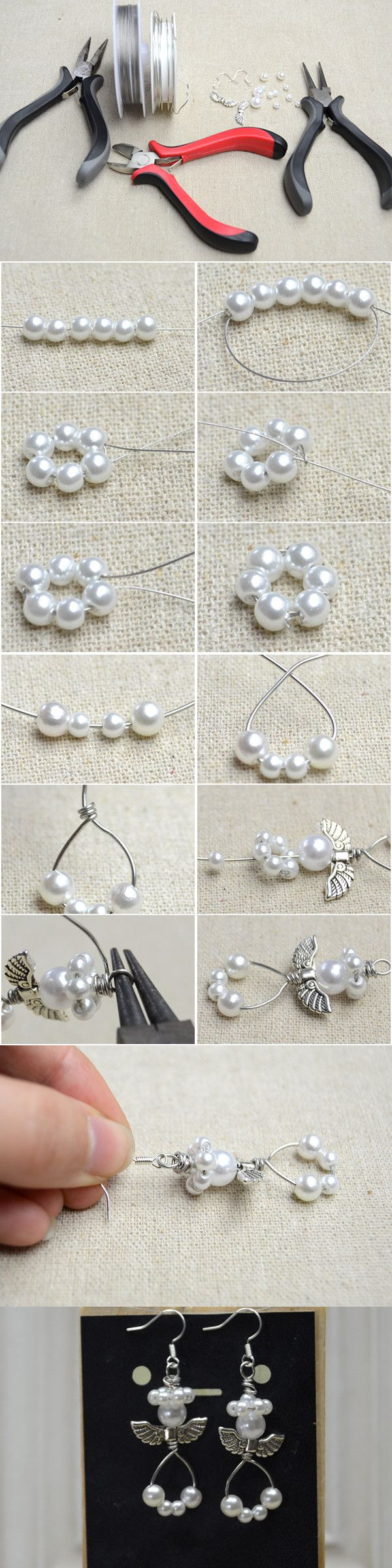 Quick Tutorial on How to Make Angel Earrings with Pearls and Wires from LC.Pandahall.com