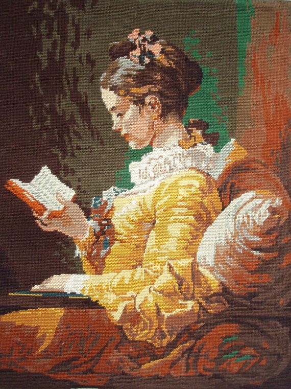 Vintage French needlepoint canvas tapestry embroidery - Young woman reading by Fragonard - La Liseuse