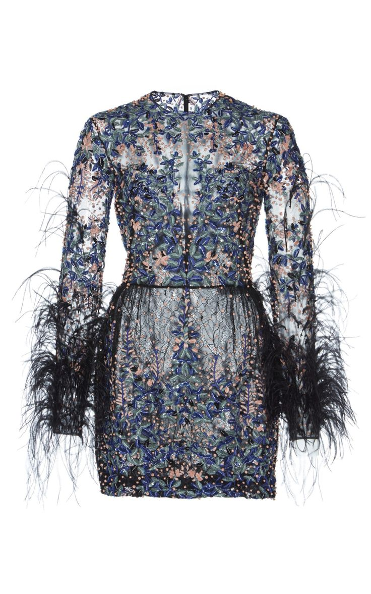 Bead and Feather Embroidered Mini Dress by Zuhair