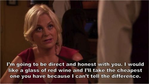 "When she got way too real while ordering a glass of wine. | Leslie Knope's 33 Best Lines On ""Parks And Recreation"""