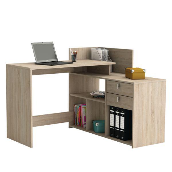 """""""Vista"""" sarok íróasztal, 2 fiókos, sonoma tölgy dekor, mérete: 121x107,6x90,1cm."""