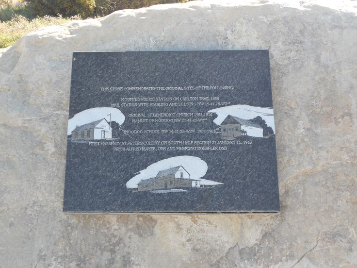 Commemorative Stone Plaque at Historical Site for Mounted Police, St Benedict Church, Hamlet of Hoodoo.  #lucienlake #stbenedict #hoodoo #mountedpolice #historicalsite #prairiehistory