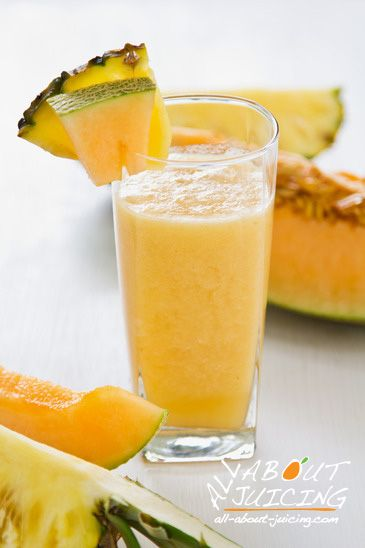 Pineapple and cantaloupe juice make an unexpected but delish combo.  Juice 1/2 pineapple with a large slice of cantaloupe (rind ok).  This also works well as a blender drink if you don't have a juicer(but dont blend any rinds :).