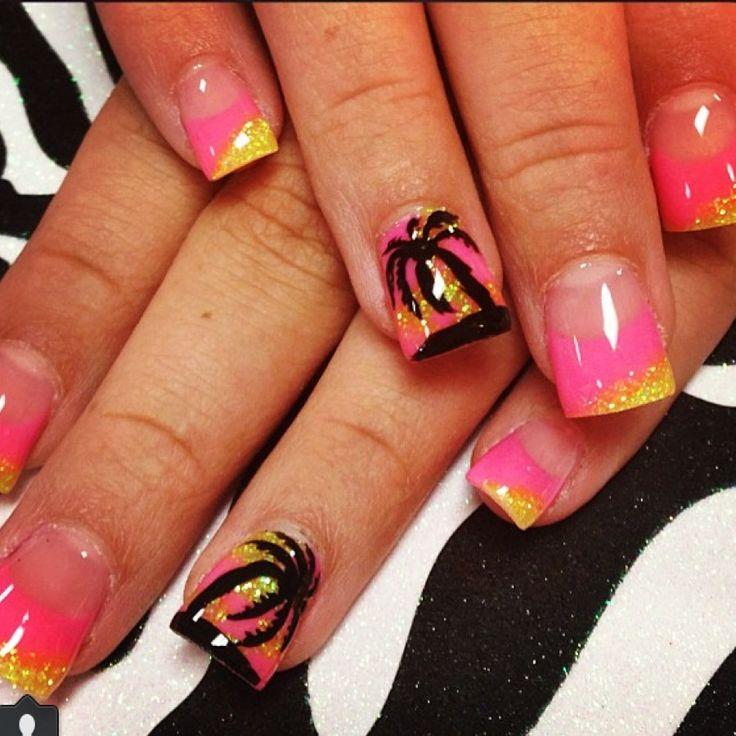 Pink And Yellow Glitter Nail Art