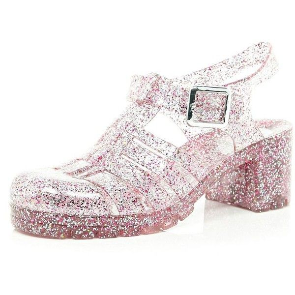 River Island Pink glitter block heel jelly shoes ($8.78) ❤ liked on Polyvore featuring shoes, sandals, heels, pink, jellies, sale, jelly shoes, glitter shoes, beach sandals and pink glitter shoes