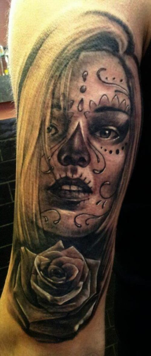 Sugar Girl Face Tattoo - http://16tattoo.com/sugar-girl-face-tattoo/