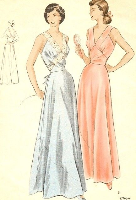 1950s Stunning Bias Cut Nightgown Pattern Vogue 6613 Deep V Neckline Low Strappy Back Pure Glamour Lingerie Bust 34 Vintage Sewing Pattern